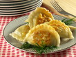 Pierogi. Polish dumplings for Christmas with sauerkraut