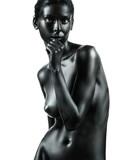 artistic nude beautiful woman white background
