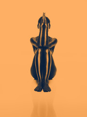artistic nude woman, geometric position, orange background