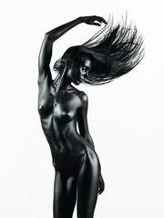 artistic nude of young woman, white background