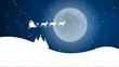 Rentierschlitten vor verschneiter Landschaft und Nachthimmel