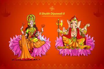 vector illustration of Goddess Lakshmi and Lord Ganesha