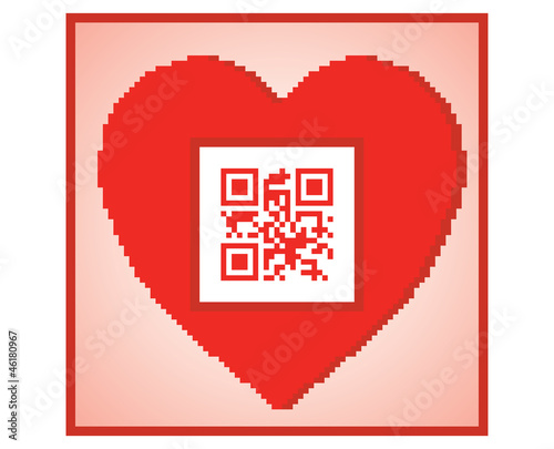 postcard for Valentines Day with QR code I love you