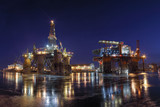 Oil Rigs at night