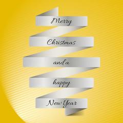 Weihnachtskarte in gelb mit Banderole