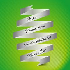 Weihnachtskarte in grün mit Banderole
