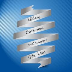 Weihnachtskarte in blau mit Banderole