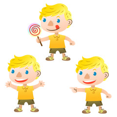 cute blond boy pointing and holding lollipop