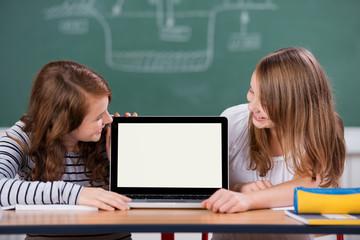 zwei schüler schauen auf einen laptop