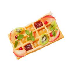 Appetizing fresh hot Belgian waffle with fruit