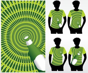 obracający się tunel - złudzenie optyczne - butelka t-shirt