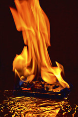 Hard disk drive burning in flames