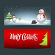 Merry Christmas, banner design background set, vector