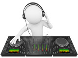 Fototapety 3D white people. DJ with a mixer