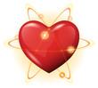 3d heart protection vector icon - atom power