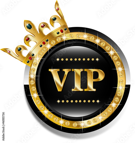 Vip round golden vector label with crown