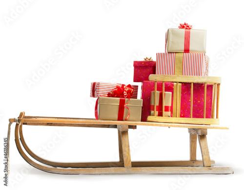 Leinwanddruck Bild Sledge with Christmas presents