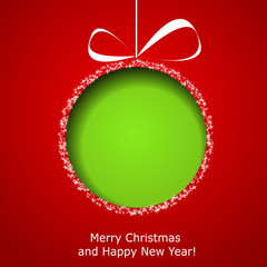 Abstract green Christmas ball cutted from paper on red backgroun