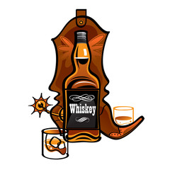 Bottle of Whiskey and cowboy boot