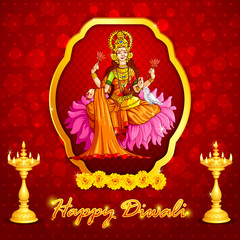 vector illustration of godess lakshmi with lamps