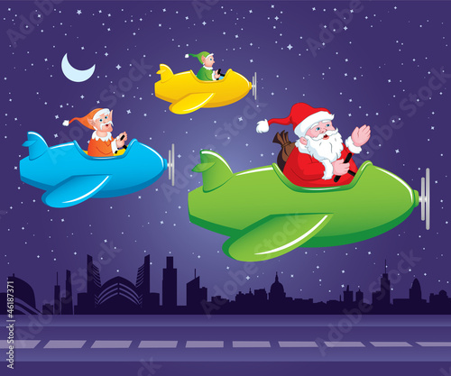 Santa and Elves in Aeroplane