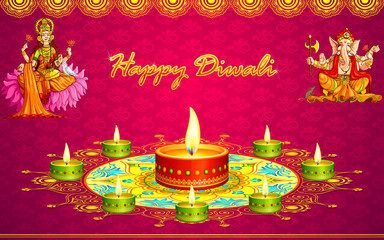 vector illustration of diwali greeting with Lakshmi Ganesha