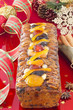 Christmas Fruit-cake with festive decoration