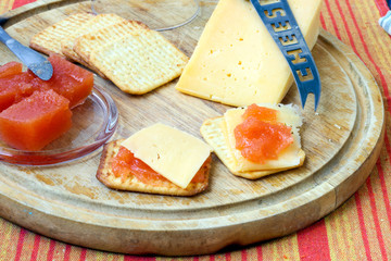 Quince jelly, cheese, crackers