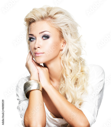 Fashion blond woman with long hair