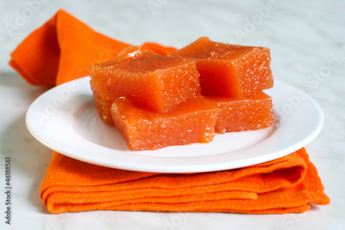 a pieces of quince paste - dulce de membrillo, typical of Spain