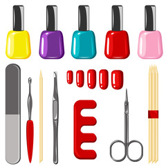 Colorful manicure vector set