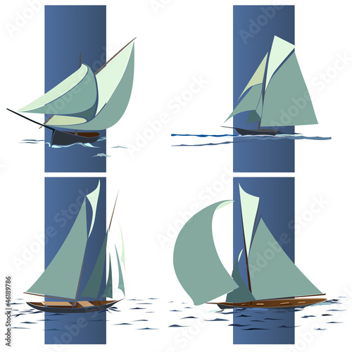 Simple vector group of ship with sails.