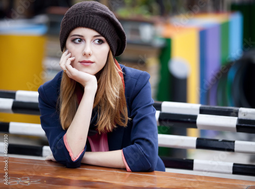 Beautiful girl at the cafe.