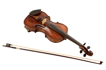 Old Dusty Violin with Bow