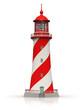 Leinwandbild Motiv Red lighthouse isolated on white