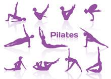 Pilates stellt in violett Silhouetten
