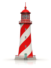Red lighthouse isolated on white