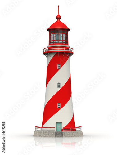Foto op Aluminium Vuurtoren / Mill Red lighthouse isolated on white
