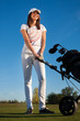 beauty  girl play golf