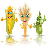 Fototapety Funny vegetables, corn, ears of corn, peas