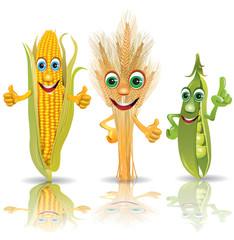 Funny vegetables, corn, ears of corn, peas