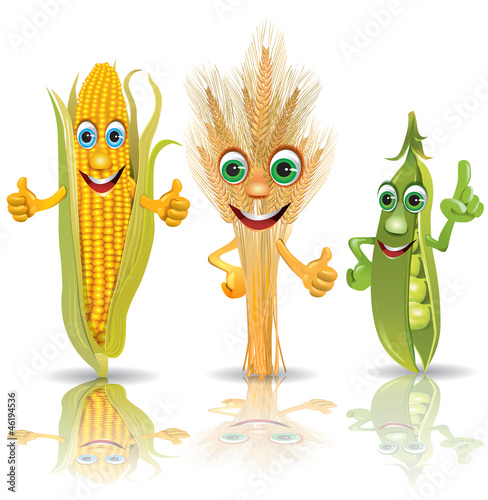 Funny vegetables, corn, ears of corn, peas