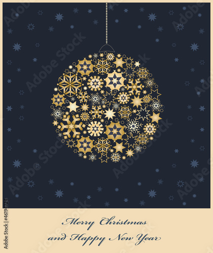 Fir tree bauble from golden snowflakes