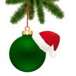 grüne Kugel mit Nikolausmütze