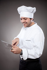 Chef with digital tablet