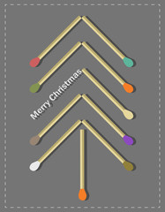 Creative Christmas tree with matches elements
