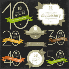Anniversary signs and cards illulstration design Jubilee design