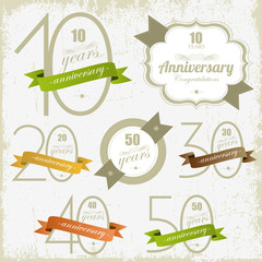 Vintage style anniversary and jubilee cards .