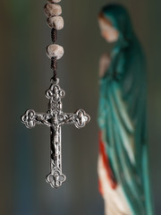 Rosary cross with virgin Mary