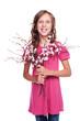 adorable little girl holding spring flowers